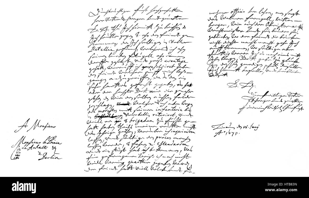 Hand-written letter by Frederick William, the Great Elector, before the Battle of Fehrbellin on June 18, 1675 - Stock Image