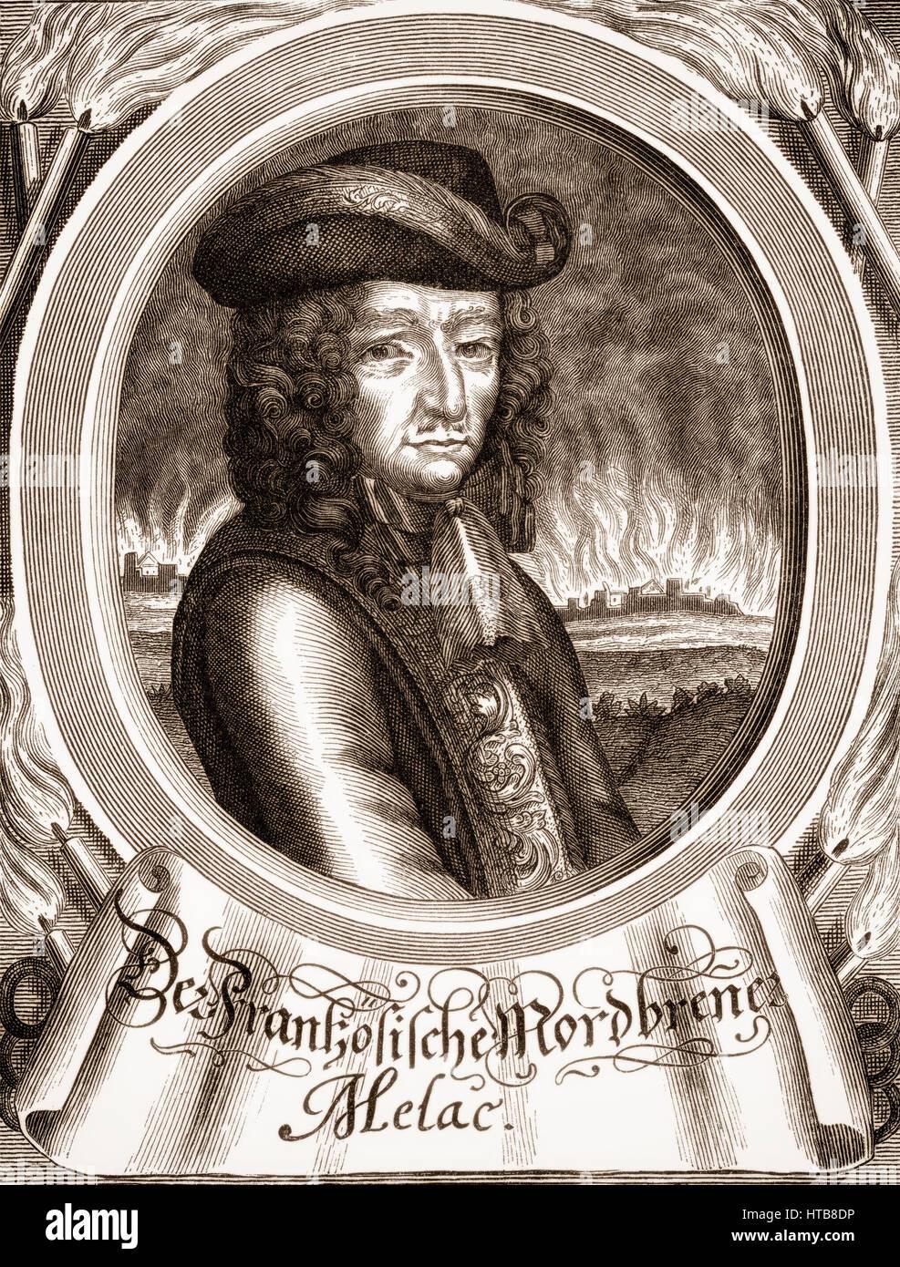 Ezéchiel du Mas, Comte de Mélac, c. 1630 - 1704, a career soldier in the French army under King Louis - Stock Image