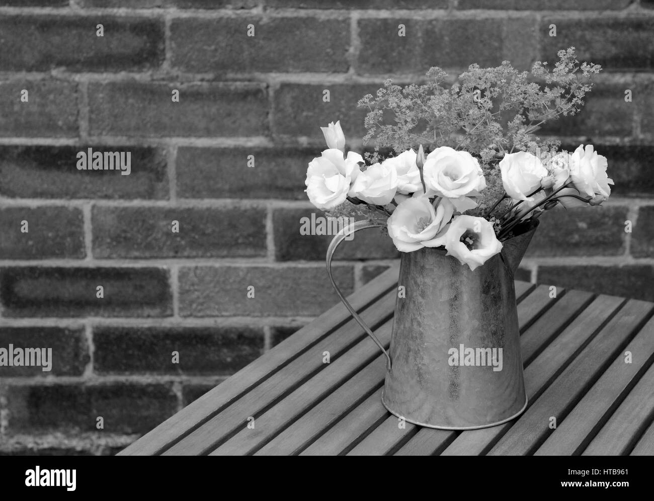 White prairie gentian flowers with ladys mantle in a metal pitcher on a wooden table against a brick wall with copy - Stock Image