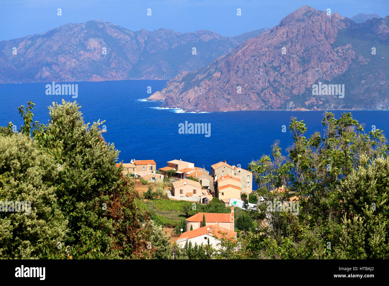 Piana with view of Scandola in the background, Corsica, France - Stock Image