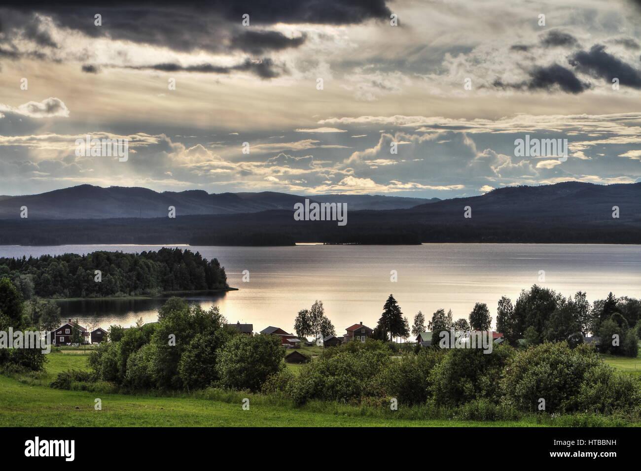 Evening Swedish landscape - Stock Image