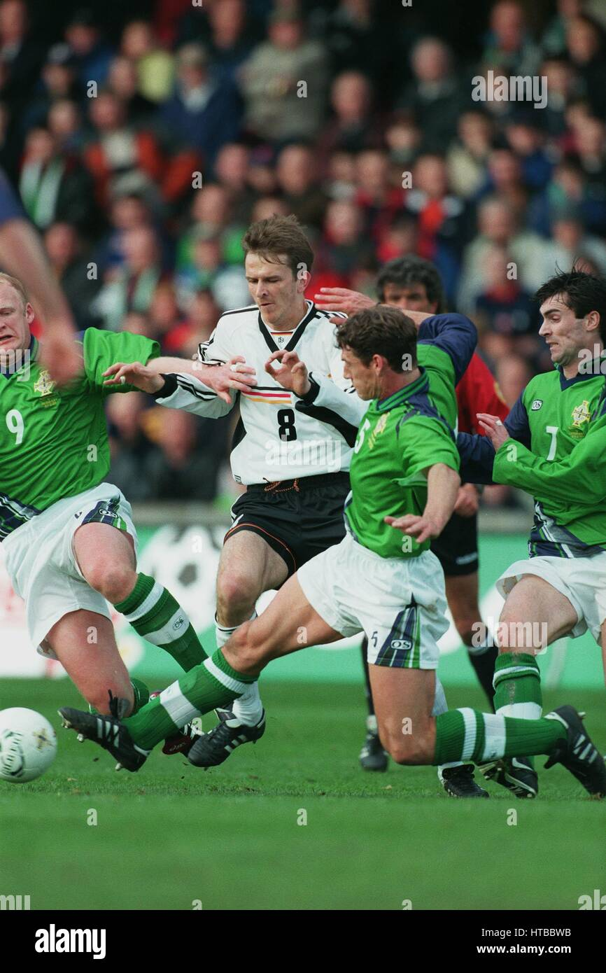 DOWIE HAMAN WILLIAMS GILLESPIE NORTHERN IRELAND V GERMANY 27 March 1999 - Stock Image