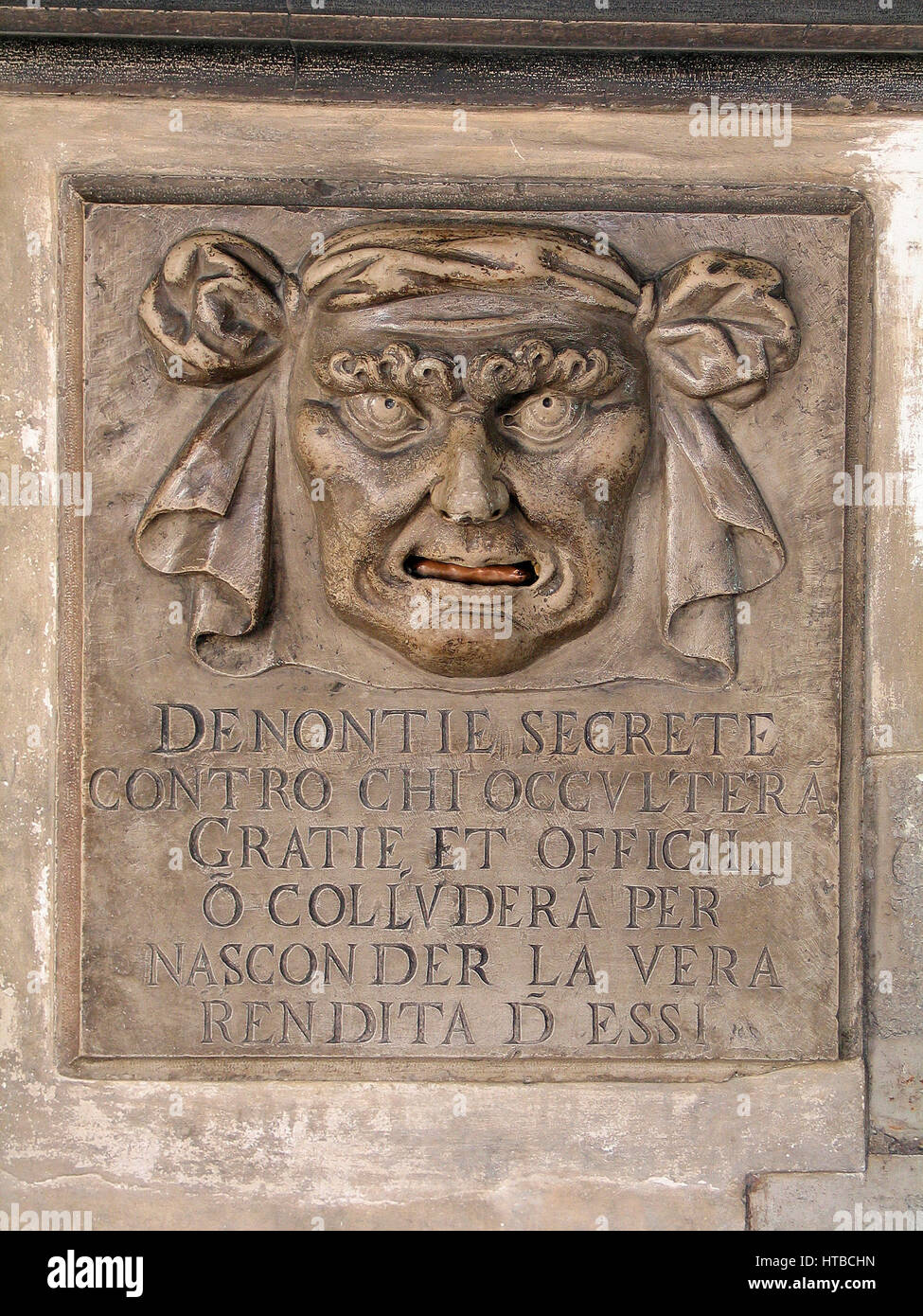 Denontie Secrete, mailbox for secret denunciations at the Palace of Doges, Venice, Italy Stock Photo