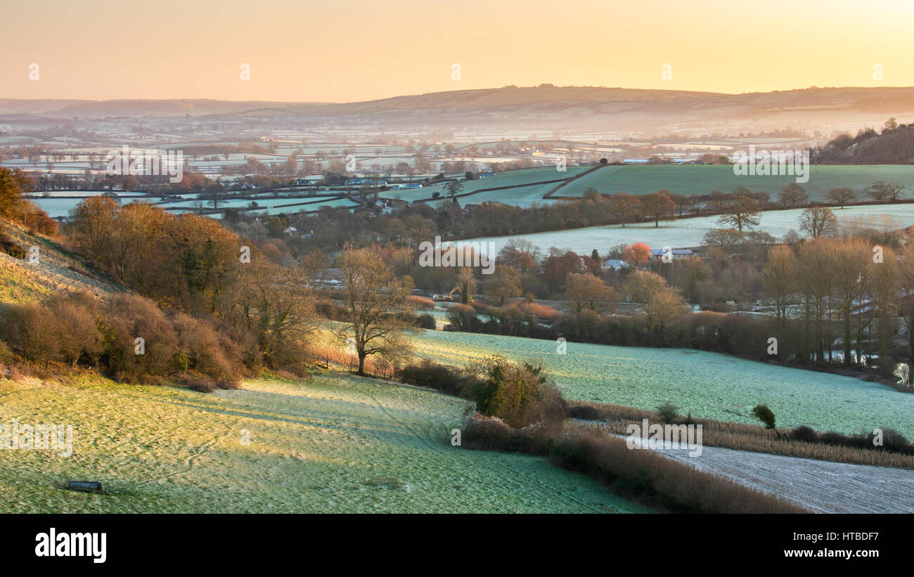 A frosty morning in the Blackmore Vale from Gales Hill, nr Buckland Newton, Dorset, England, UK - Stock Image