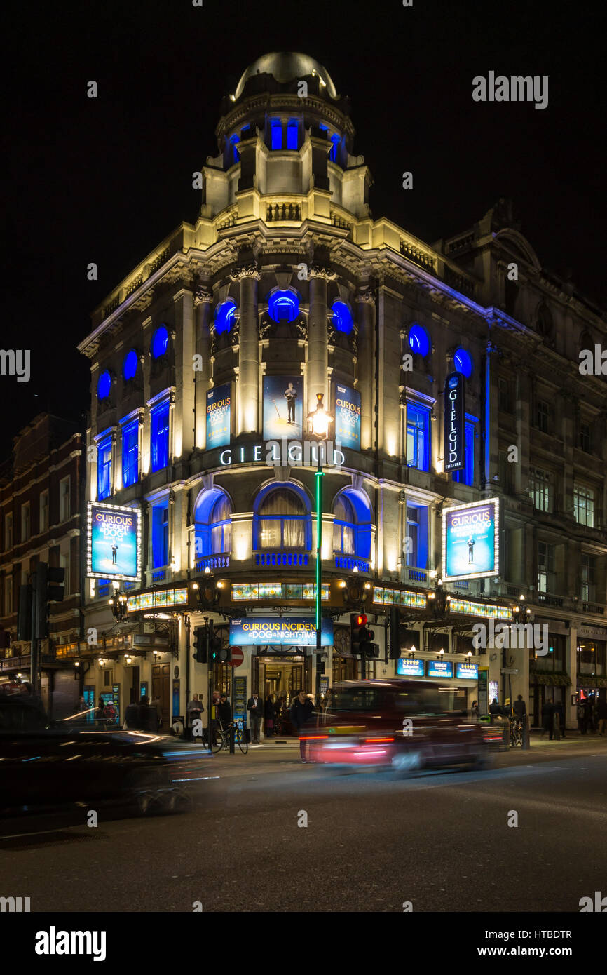 London's West End at night with The Curious Incident of the Dog in the Night-Time at the Gielgud Theatre in - Stock Image