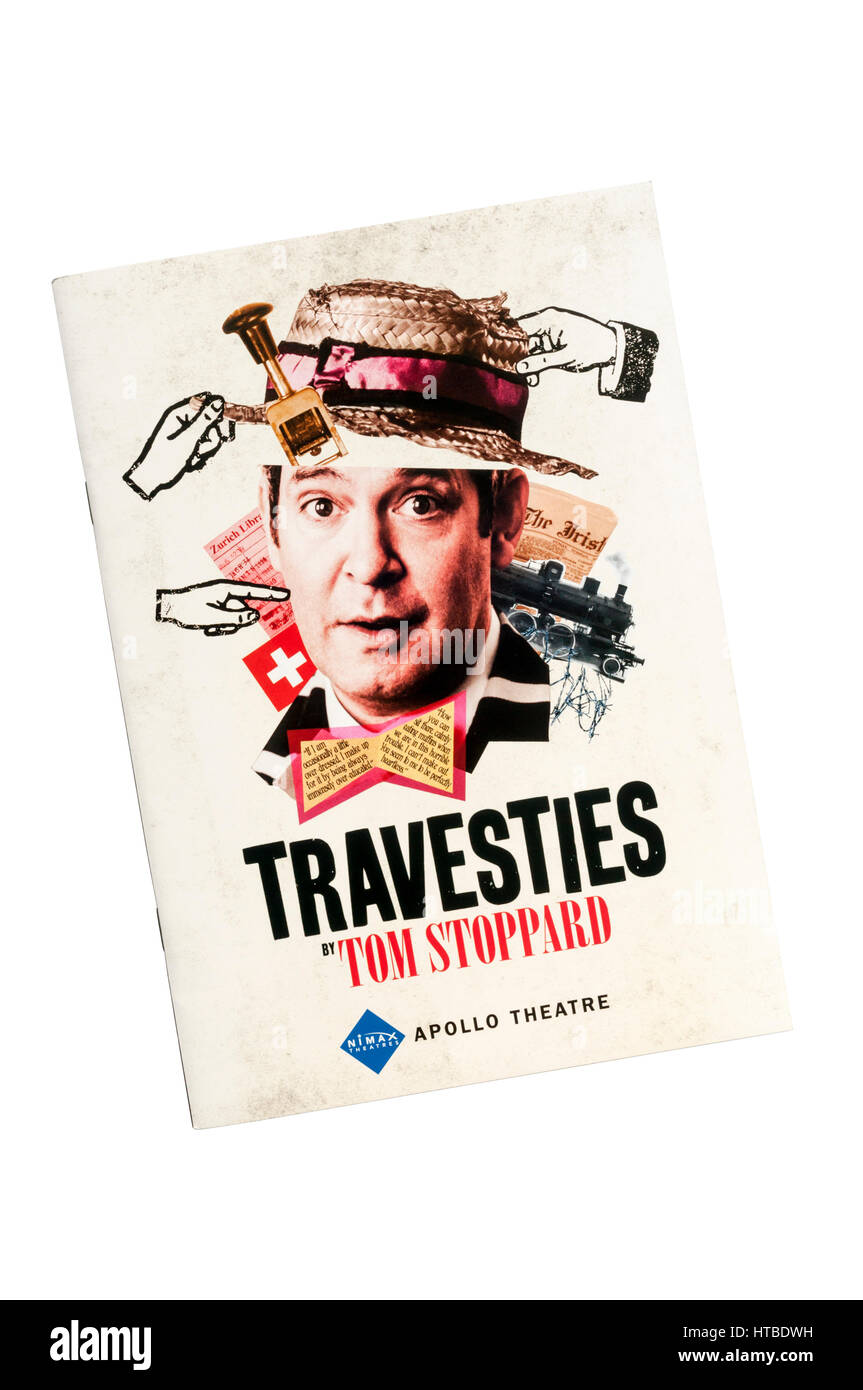 Programme for the 2017 Menier Chocolate Factory production of Travesties by Tom Stoppard at the Apollo Theatre. - Stock Image