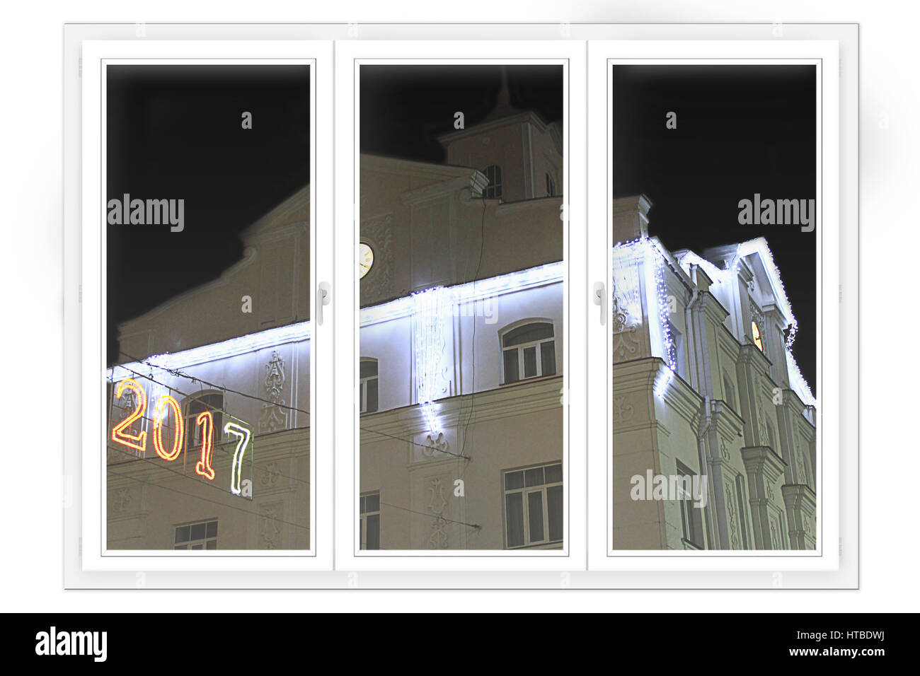 window with view to building decorated in New Year illumination. Happy New Year 2018 Stock Photo