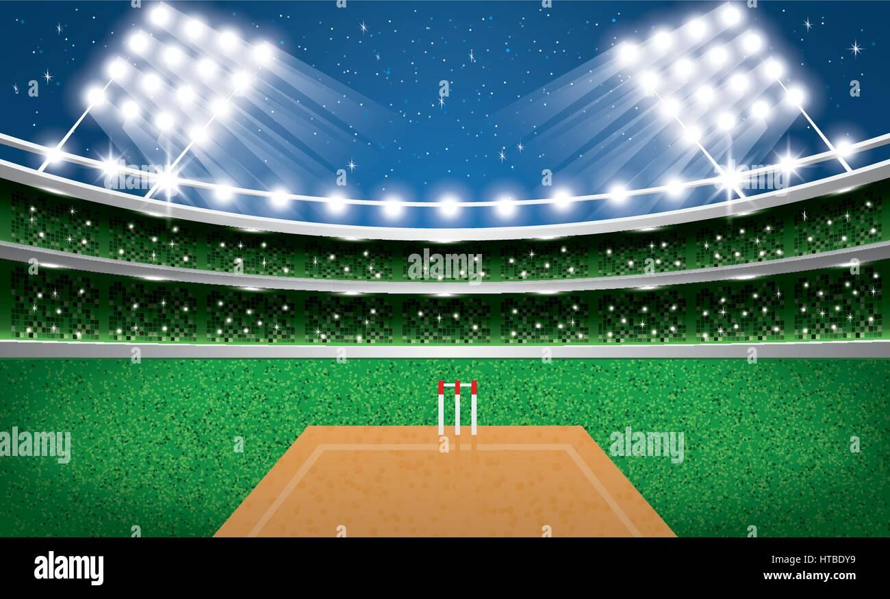 Cricket Vector Background Stock Image: Cricket Stadium With Neon Lights. Arena. Vector