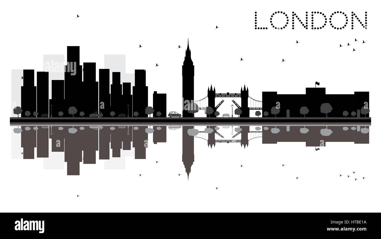 London City Skyline Black And White Silhouette With Reflections Vector Illustration Simple Flat Concept For Tourism Presentation Banner