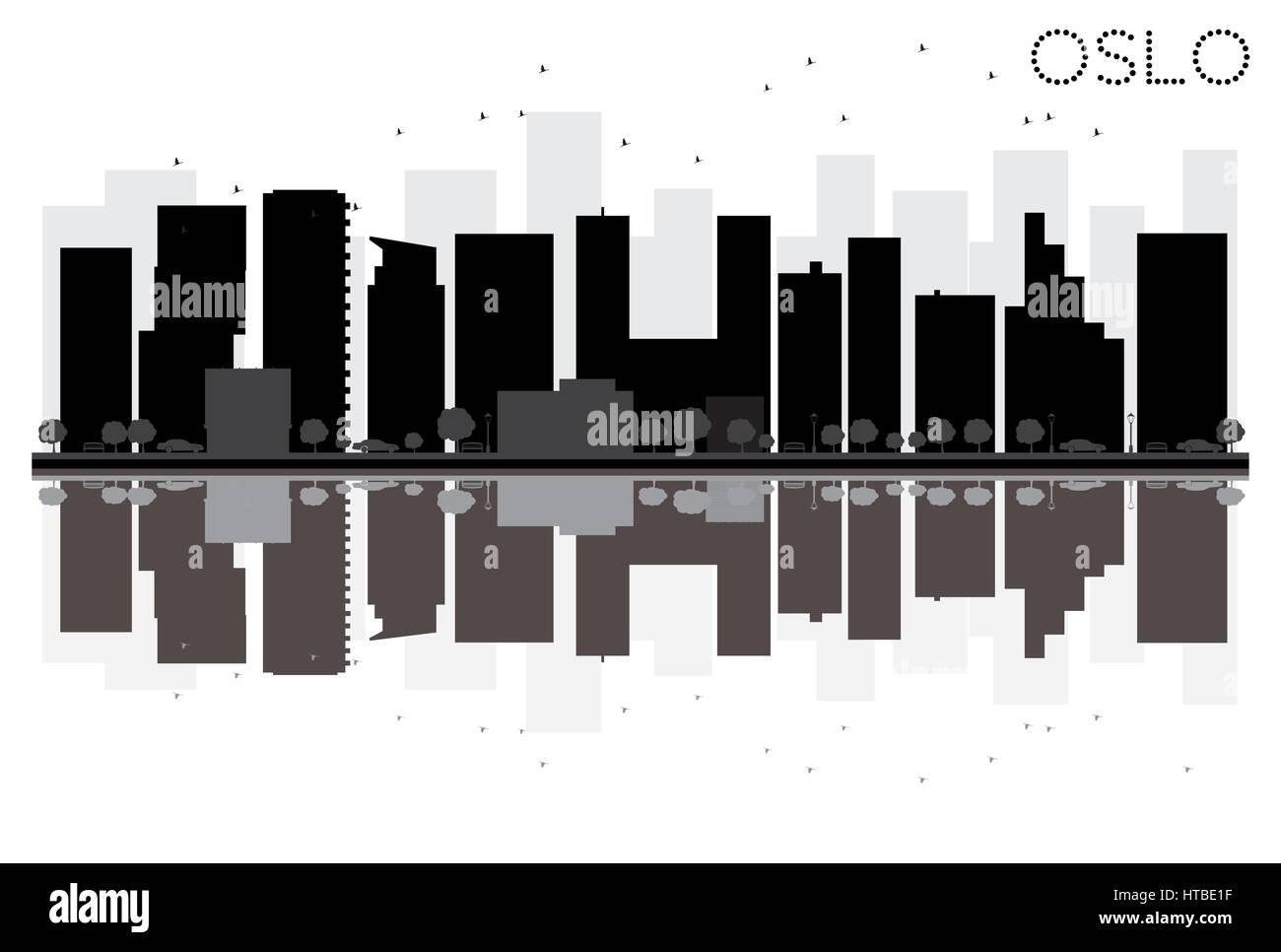 Oslo City skyline black and white silhouette with reflections. Vector illustration. Simple flat concept for tourism - Stock Vector