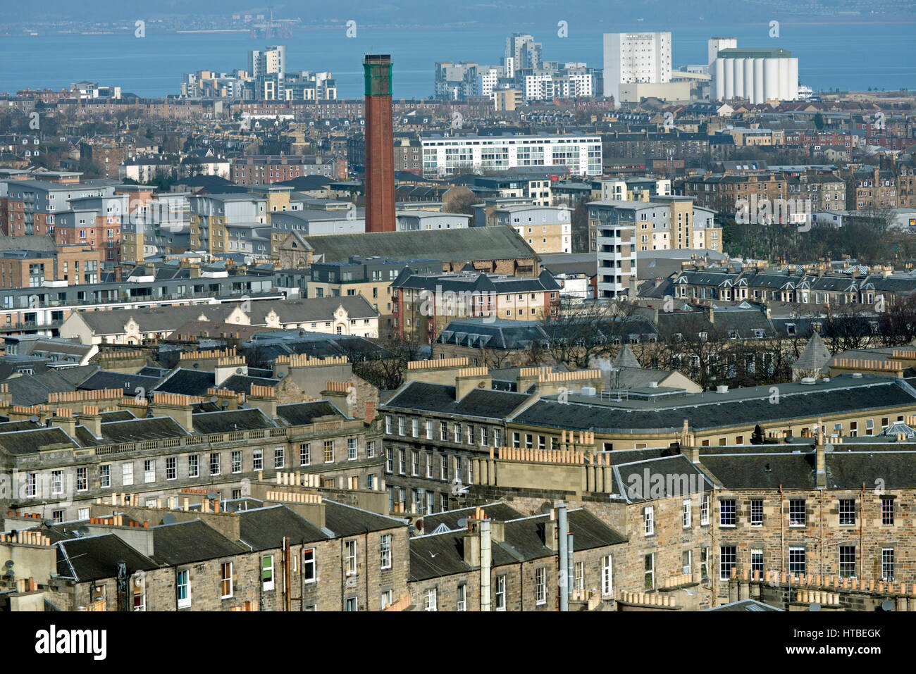The view from Calton Hill in Edinburgh looking North towards Leith. - Stock Image