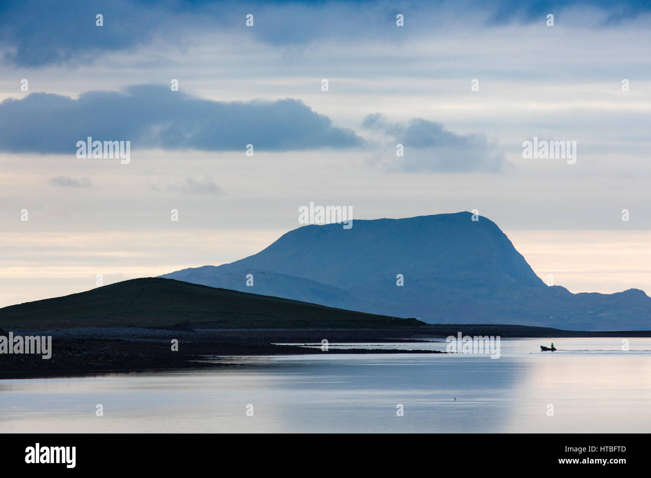 A solitary boat off Clare Island, Clew Bay, Co Mayo, Ireland - Stock Image