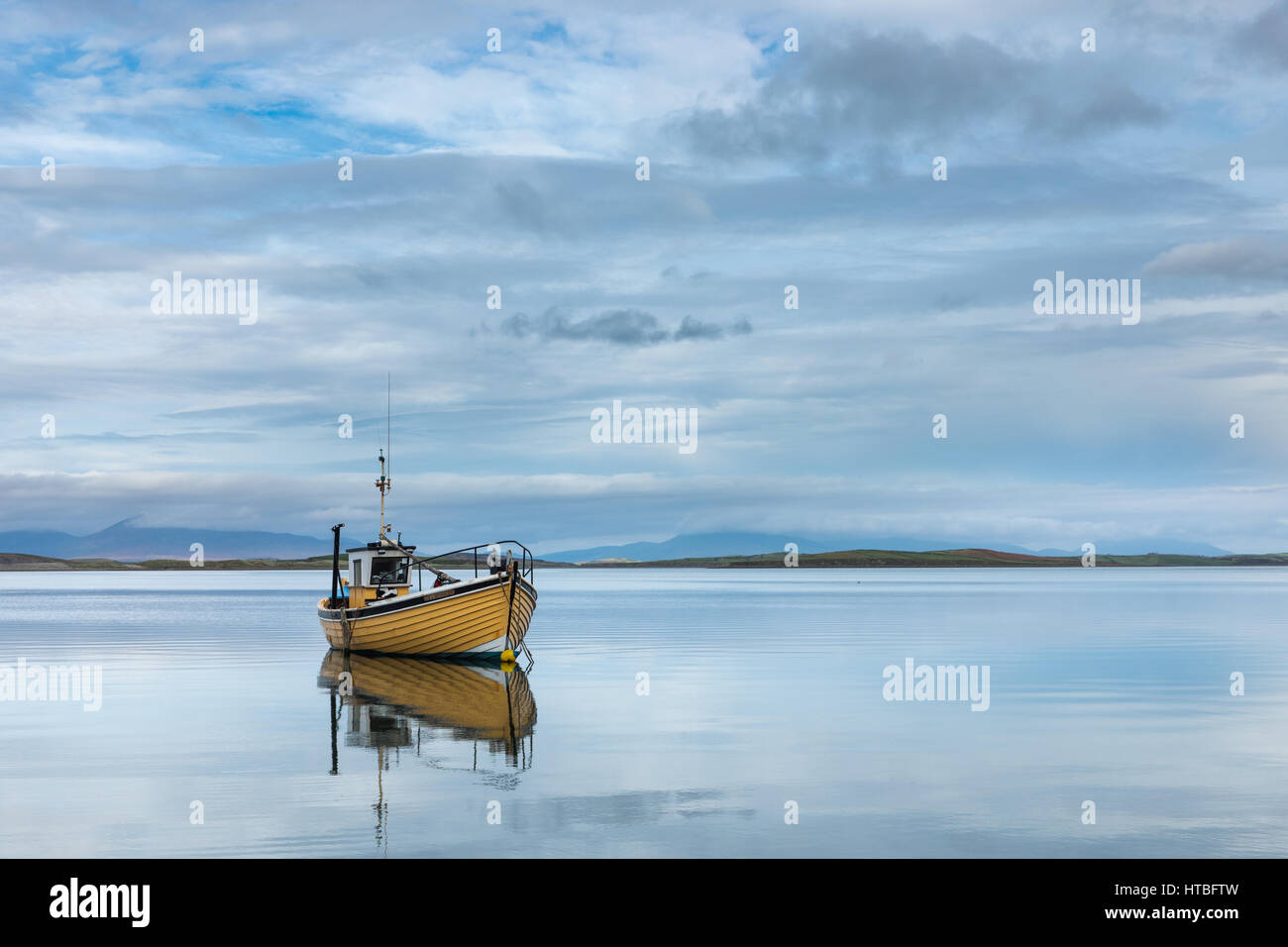 A fishing boat in Clew Bay, Co Mayo, Ireland - Stock Image