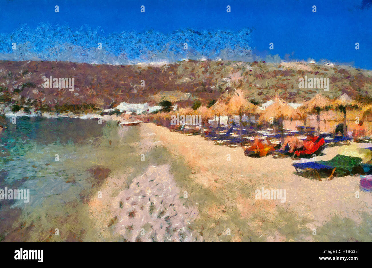 Best Island Beaches For Partying Mykonos St Barts: Psarou Stock Photos & Psarou Stock Images