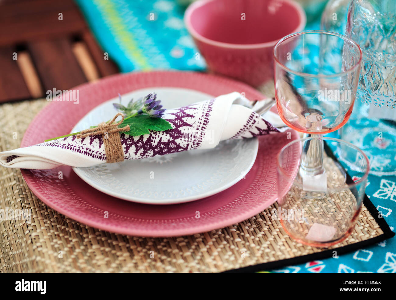 Summer table setting for lunch close up photo. & Summer table setting for lunch close up photo Stock Photo ...