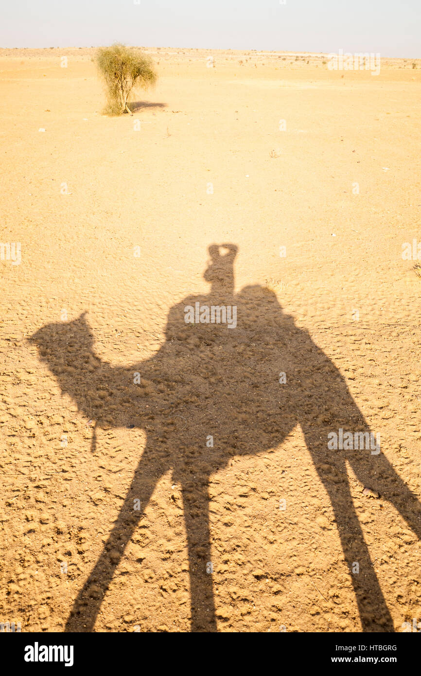 The shadow of a man riding a camel and taking a picture of his shadow on the barren desert ground. Thar Desert, Stock Photo
