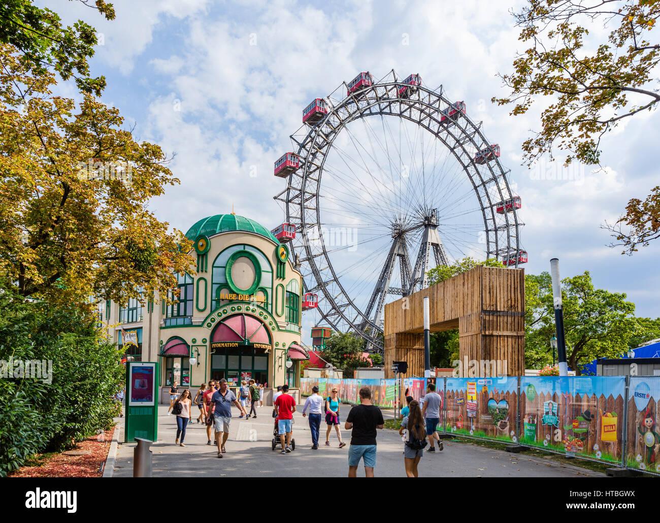 Vienna, Prater. Entrance to the Prater amusement park looking towards the Wiener Riesenrad (Ferris Wheel), Vienna, - Stock Image