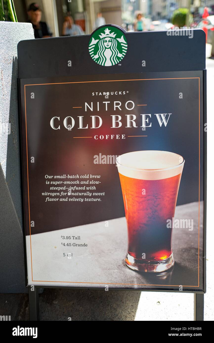 Signage For Starbucks Nitro Cold Brew Coffee In The