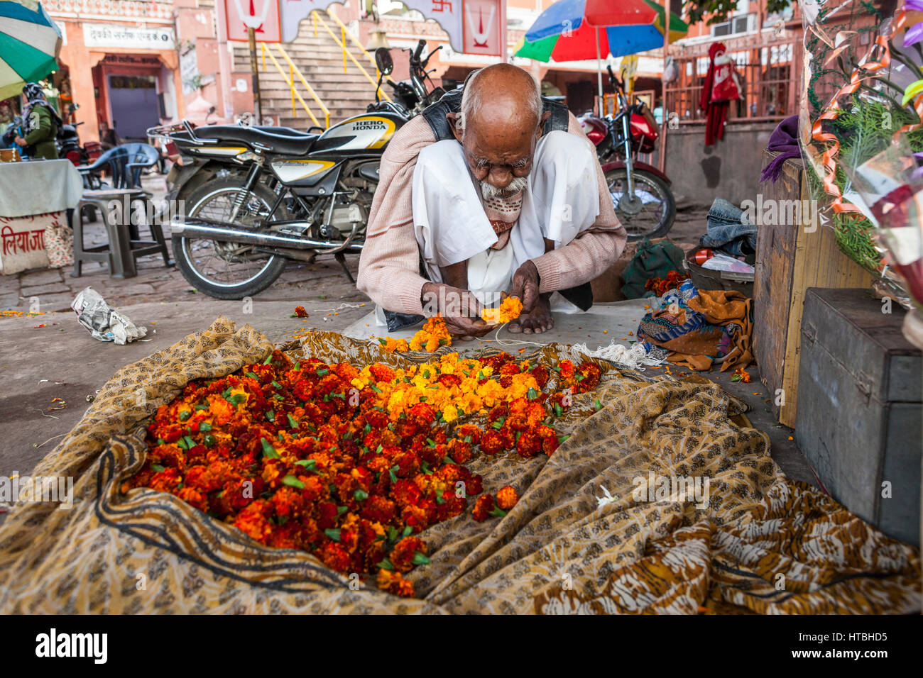 A man squatting in a market stringing flower heads onto a string to make a garland, Jaipur, Rajasthan, India. - Stock Image
