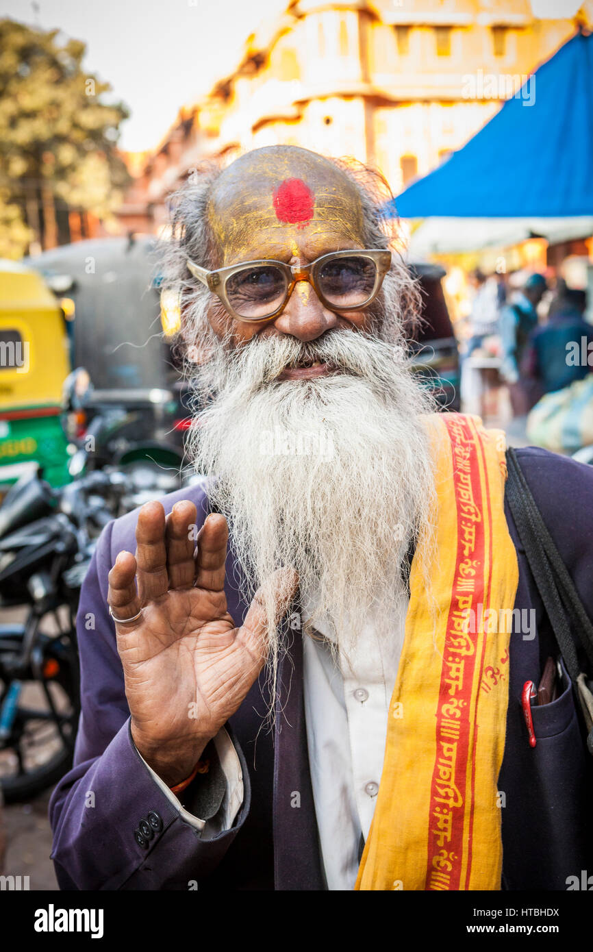 A yogi or holy man in a market in Jaipur, Rajasthan, India. Possibly a Sadhu - Stock Image