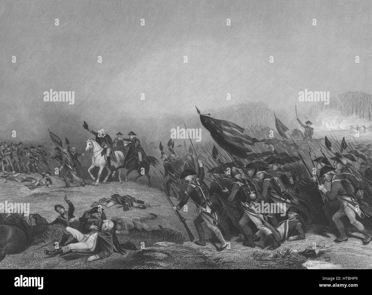 Engraving depicting George Washington leading the Continental Army to victory over the British during the Battle Stock Photo