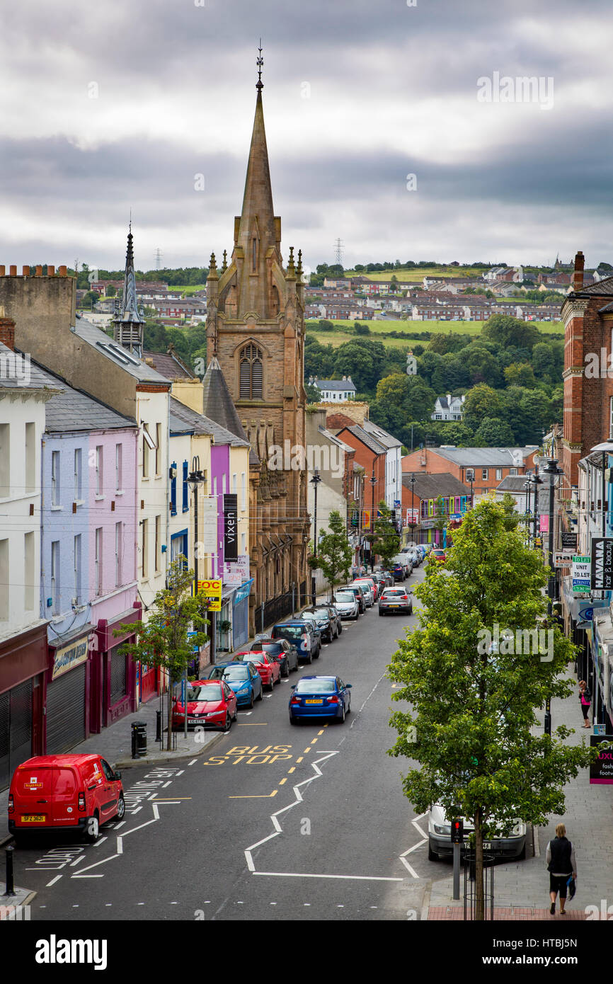 View down Carlisle Road with tower of Carlisle Road Methodist Church, Londonderry, County Derry, Northern Ireland, - Stock Image