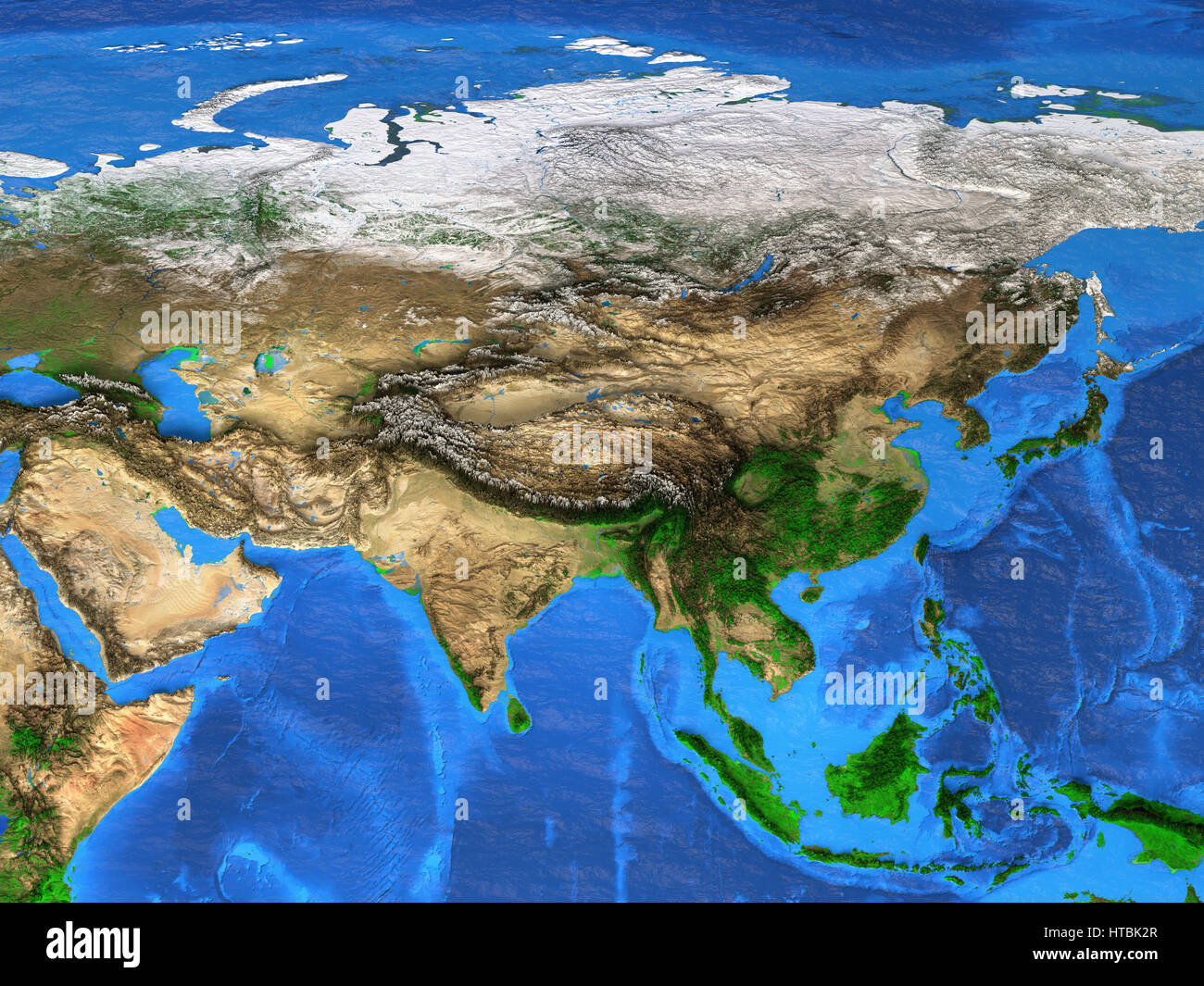 Detailed Satellite View Of The Earth And Its Landforms Asia Map