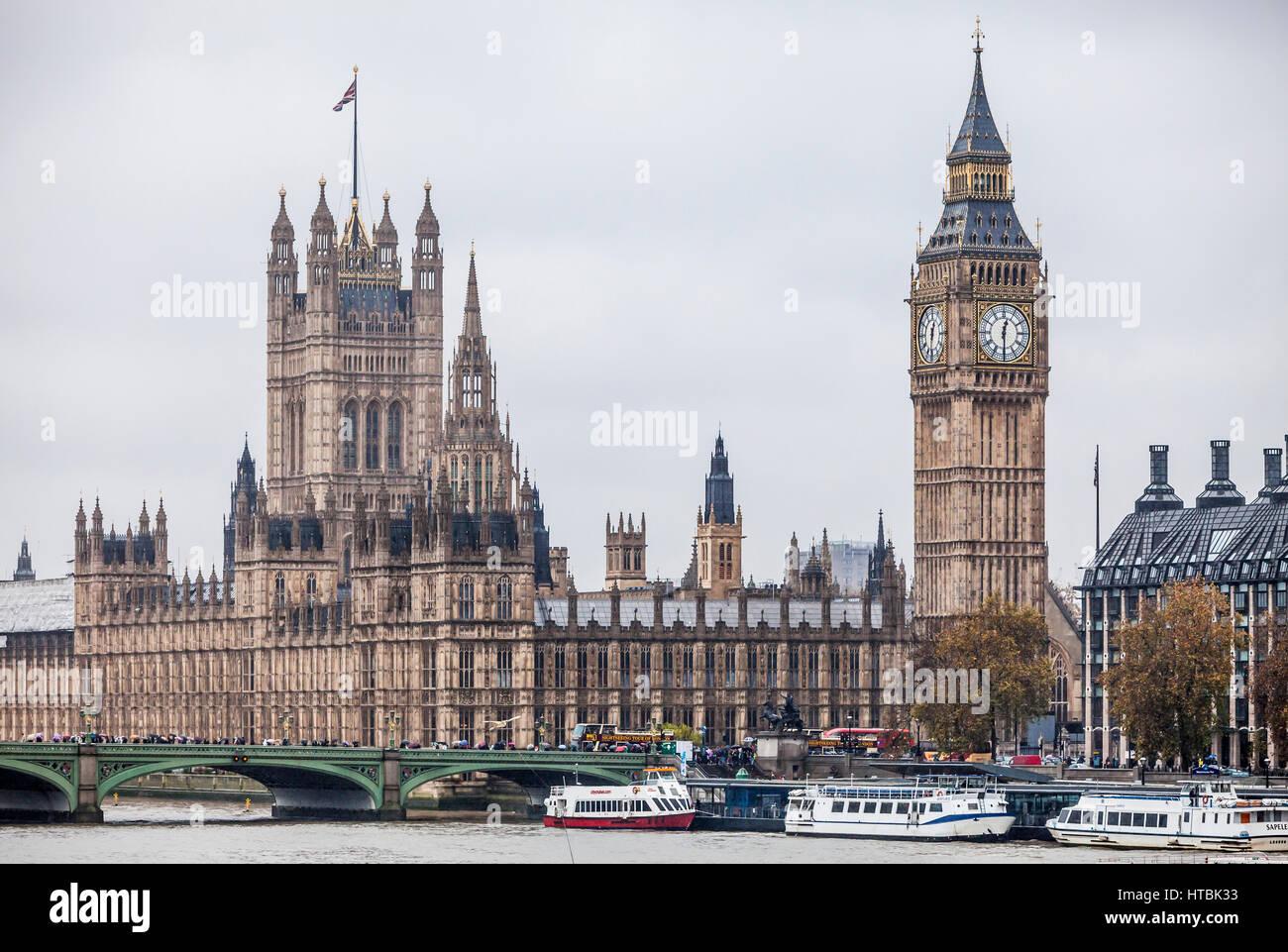 The Palace of Westminster, London, UK including Big Ben, Victoria Tower, Westminster Bridge, Elizabeth Tower, River - Stock Image