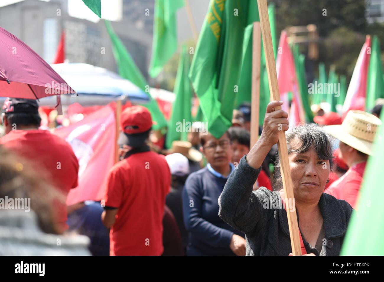 Manifestación de grupos campesinos, Día Internacional de la Mujer, Ciudad de México, Mexico, 8 de - Stock Image