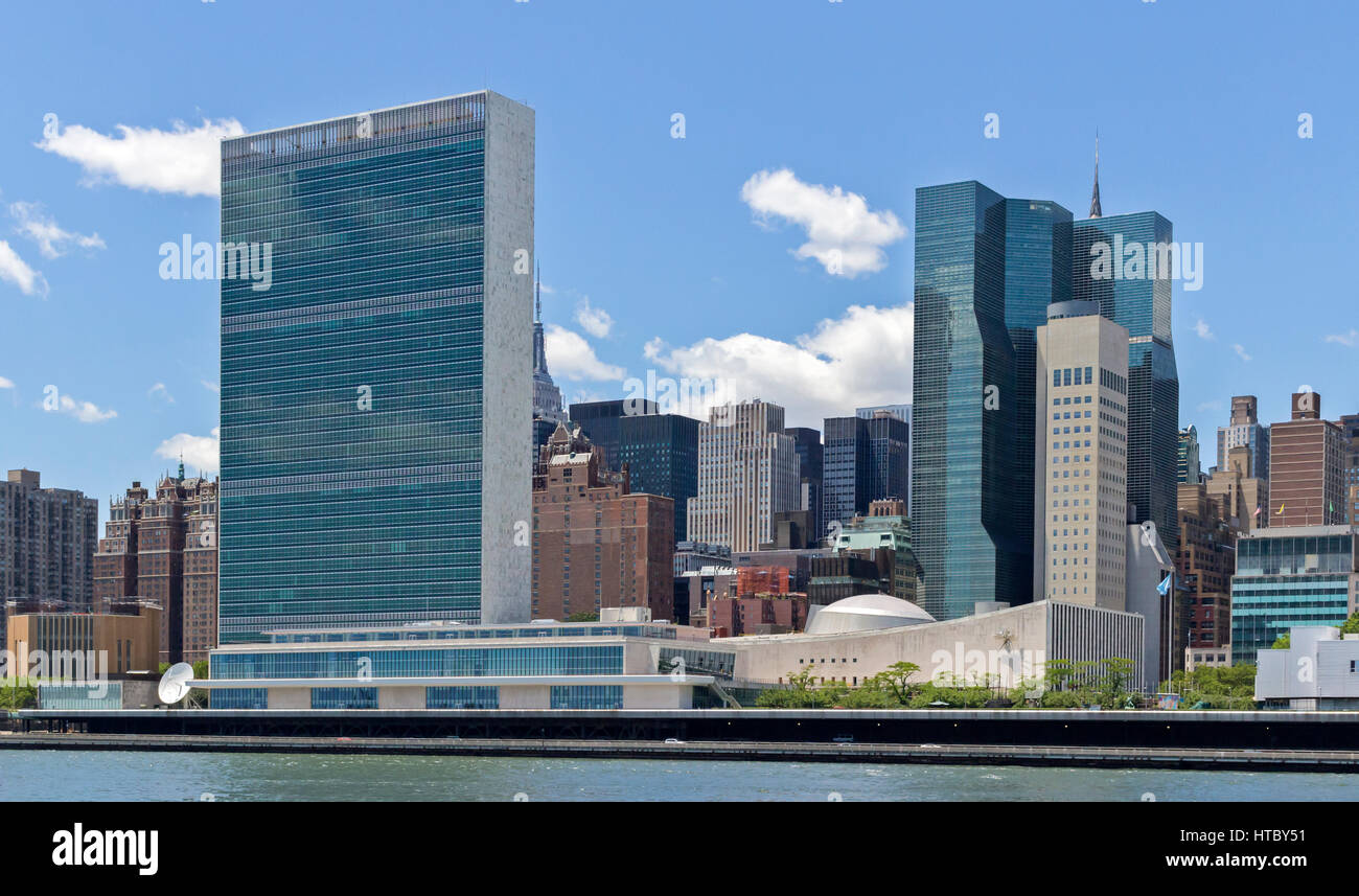 The United Nations building in Manhattan, New York City, New York. - Stock Image