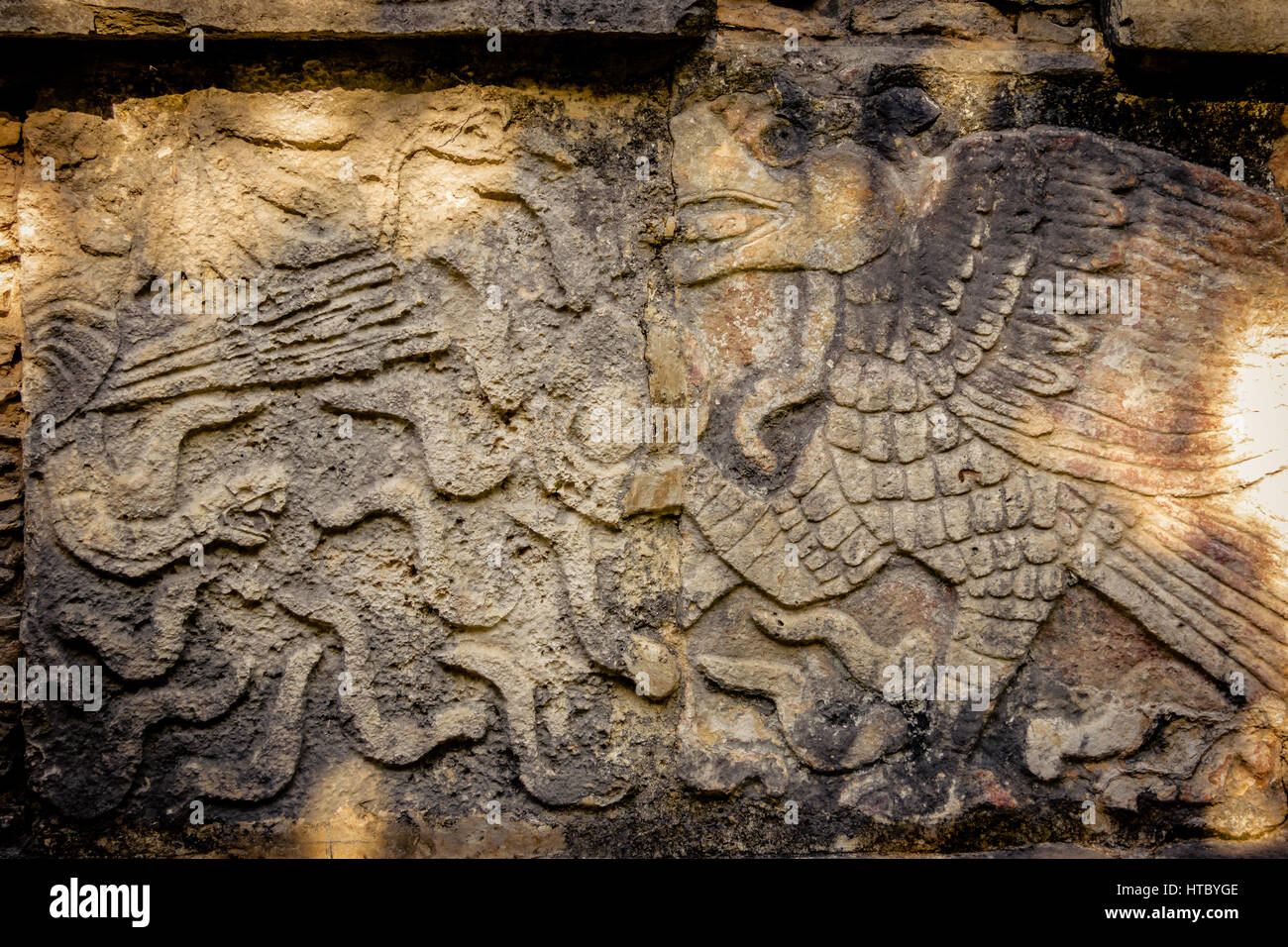Carvings in the Venus Platform at Ancient Maya Ruins of Chichen Itza - Yucatan, Mexico - Stock Image