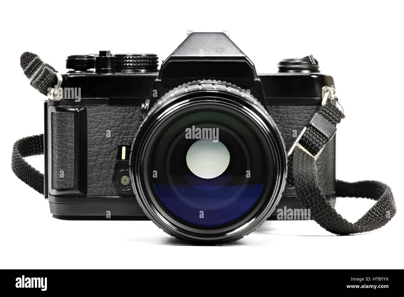 analogue single-lens reflex camera with telephoto lens isolated on white background - Stock Image