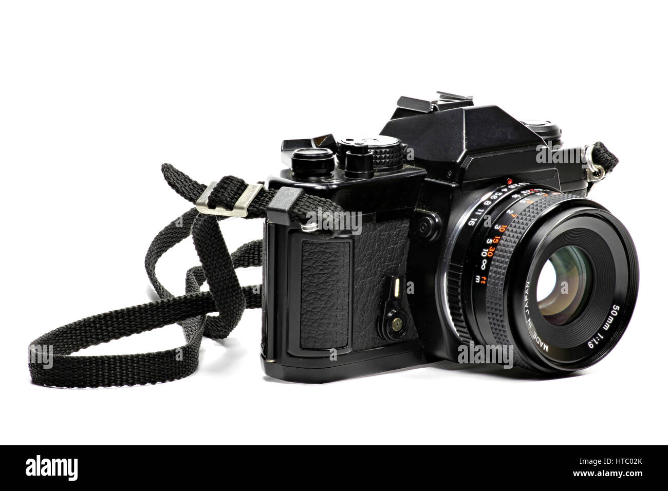 analogue single-lens reflex camera isolated on white background - Stock Image