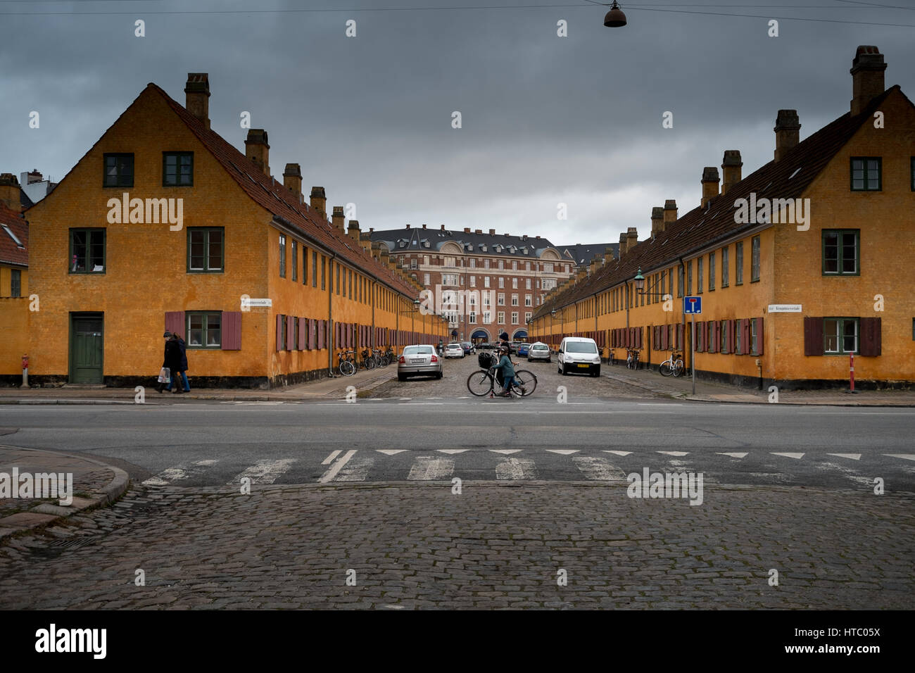 Nyboder, historic row housing dating from the 1600's built for seamen in the Royal Danish Navy, Copenhagen, - Stock Image