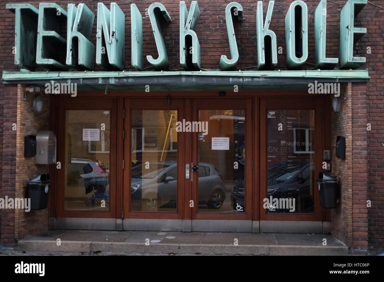 Teknisk Skole 3D sign, Copenhagen, Denmark - Stock Image