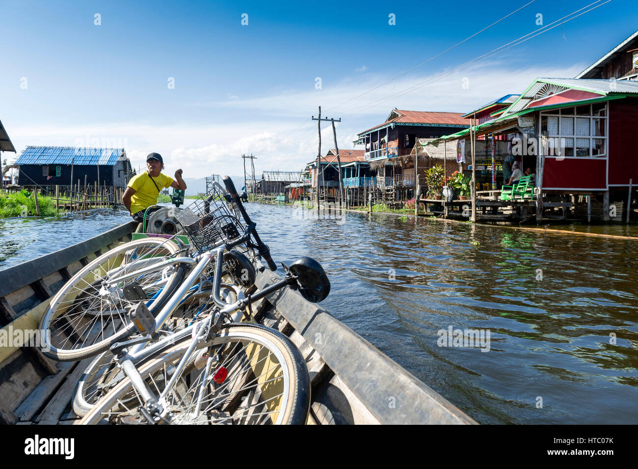 Myanmar (ex Birmanie). Inle lake. Shan state. The Intha, an ethnic group of Inle Lake, live in about 40 lake villages - Stock Image
