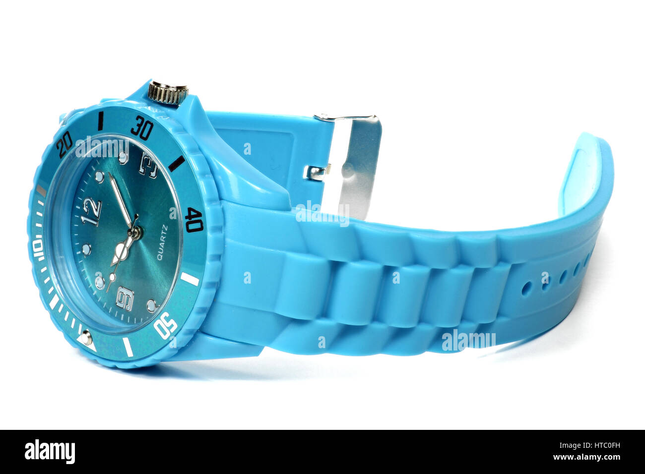 blue wristwatch isolated on white background - Stock Image