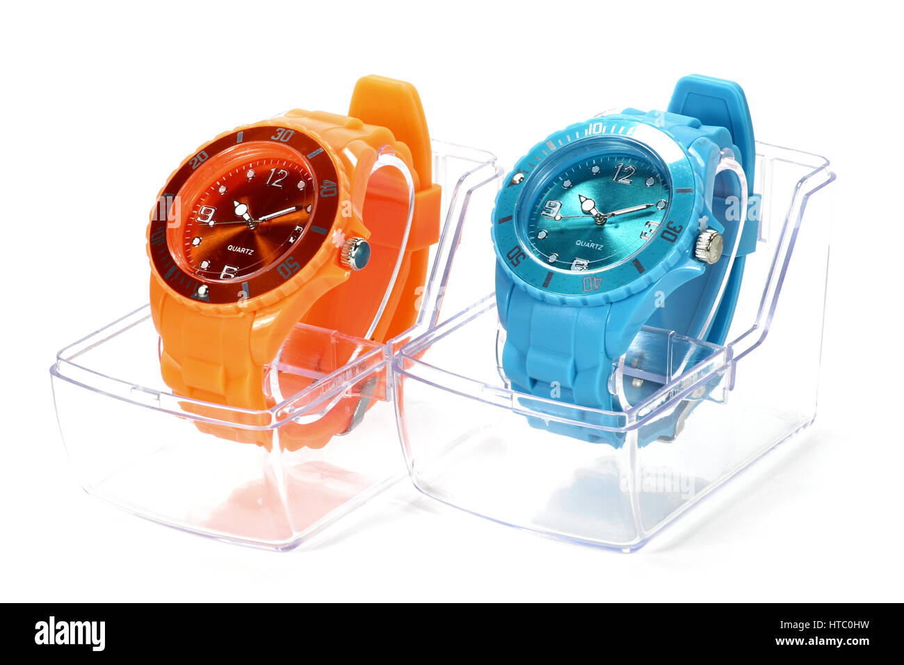 wristwatches isolated on white background - Stock Image