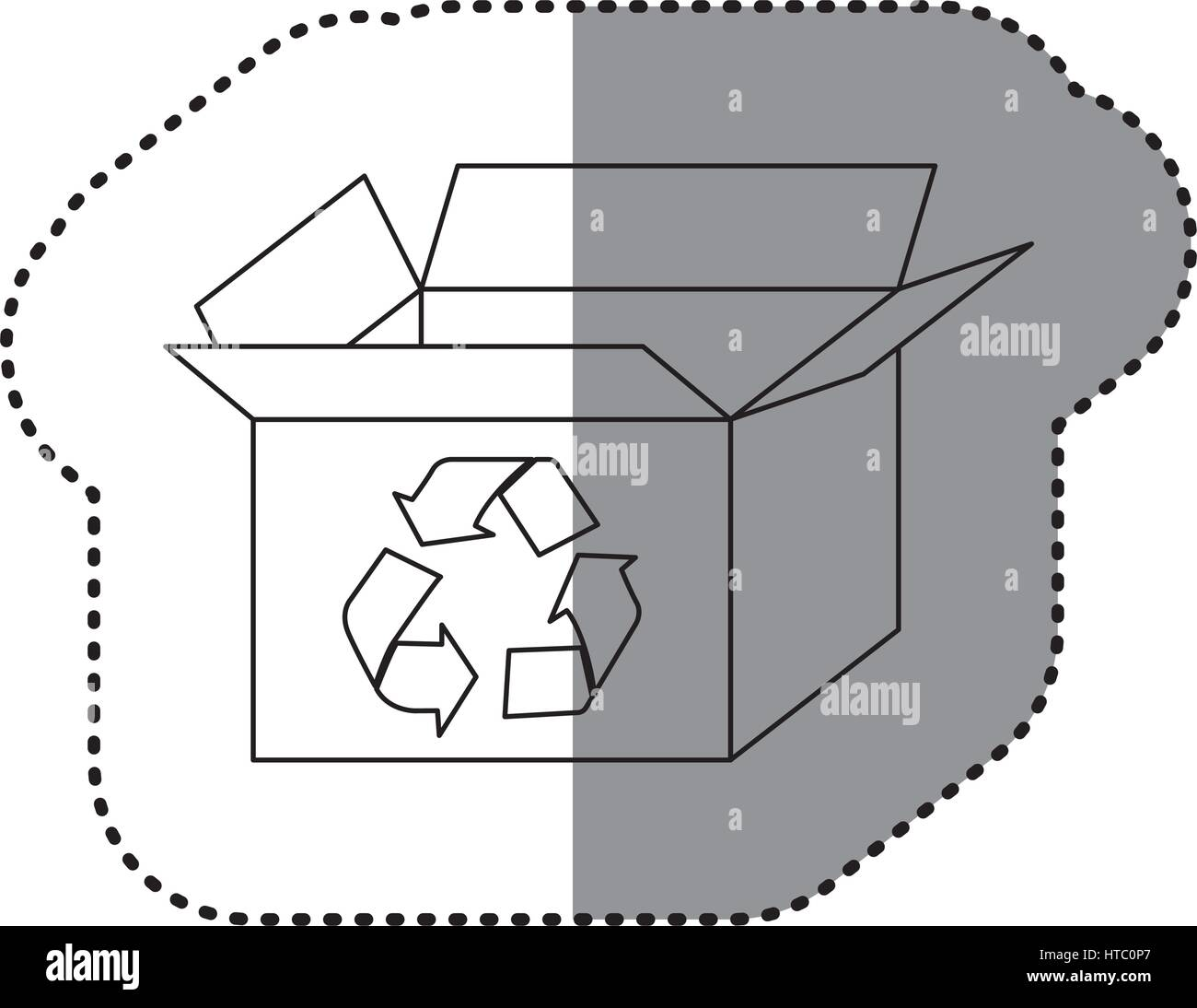 Sticker Silhouette Carton Box With Recycling Symbol Stock Vector Art