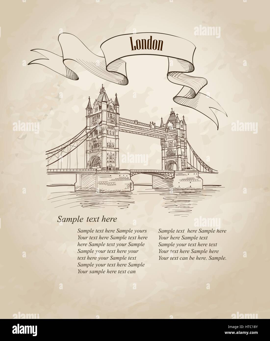 Tower Bridge, London, England, UK, Europe. Hand drawing old fashion illustration background with copy space. - Stock Vector