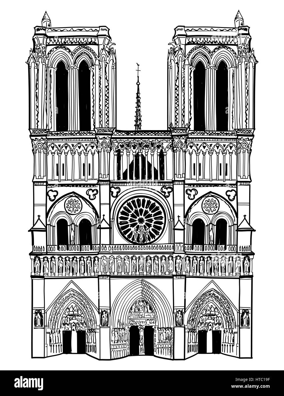 Notre Dame de Paris cathedral, France. Hand drawing vector illustration isolated on white background. - Stock Image