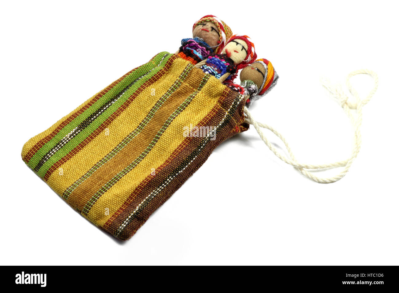 traditional worry dolls made in Guatemala isolated on white background - Stock Image