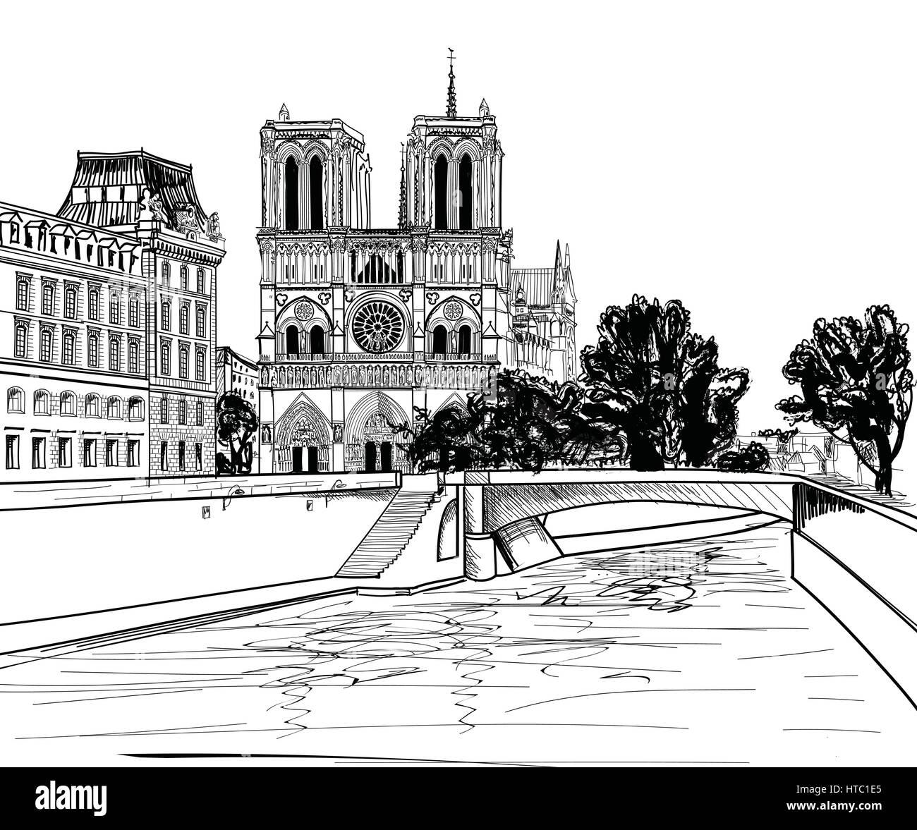 Notre Dame De Paris Disegno.Notre Dame De Paris Cathedral France Hand Drawing Vector Stock