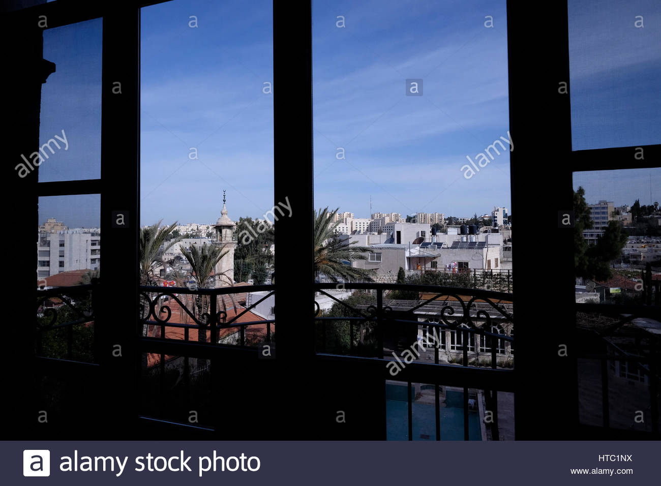 View from a room at the American Colony Hotel in East Jerusalem Israel - Stock Image