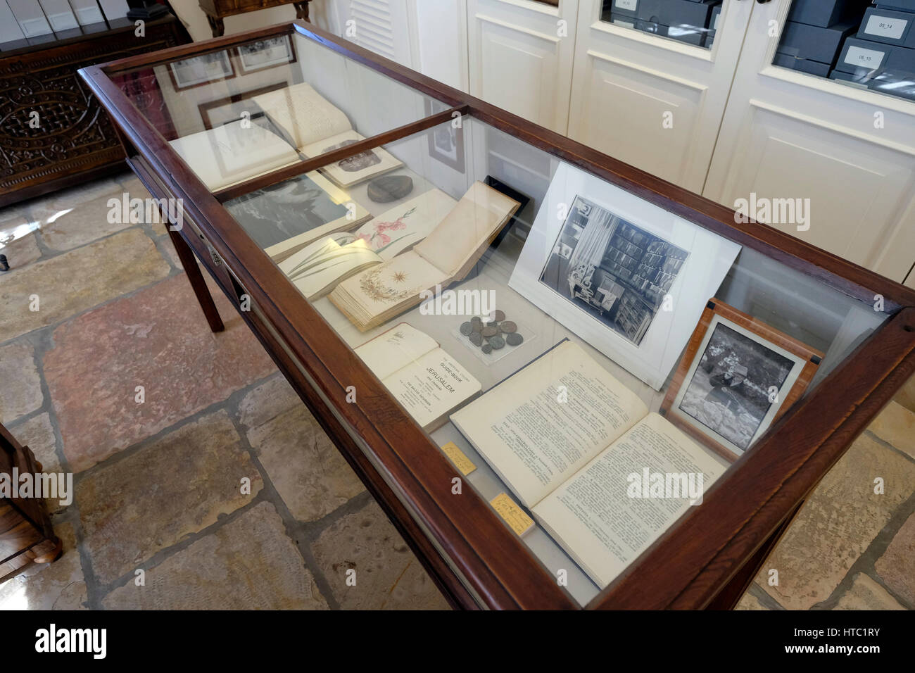Old photographs and documents telling the story of American Colony Hotel and Jerusalem's early 20th-century history - Stock Image