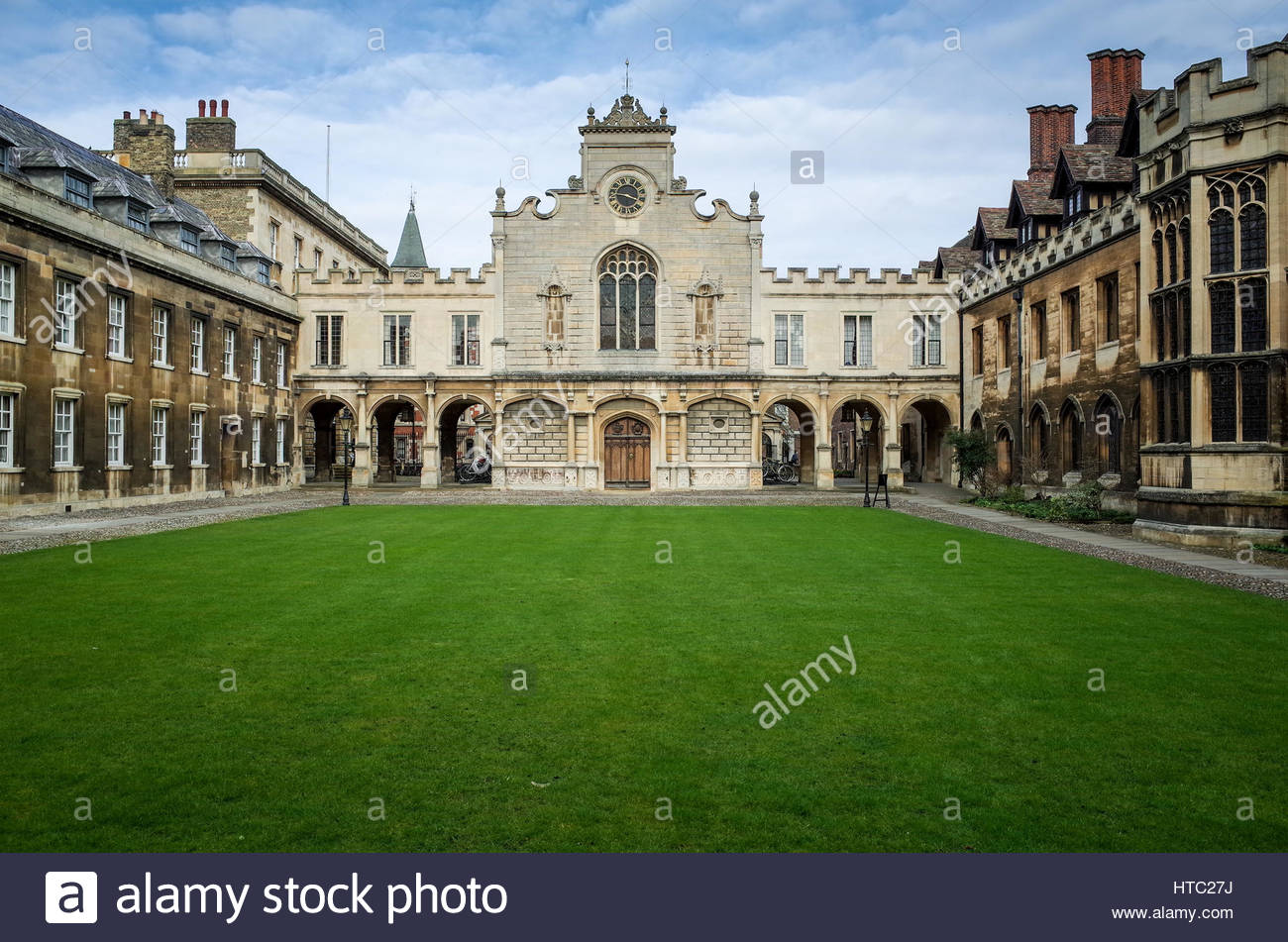 The Courtyard and Chapel at Peterhouse college, part of the University of Cambridge. Peterhouse is the oldest Cambridge - Stock Image