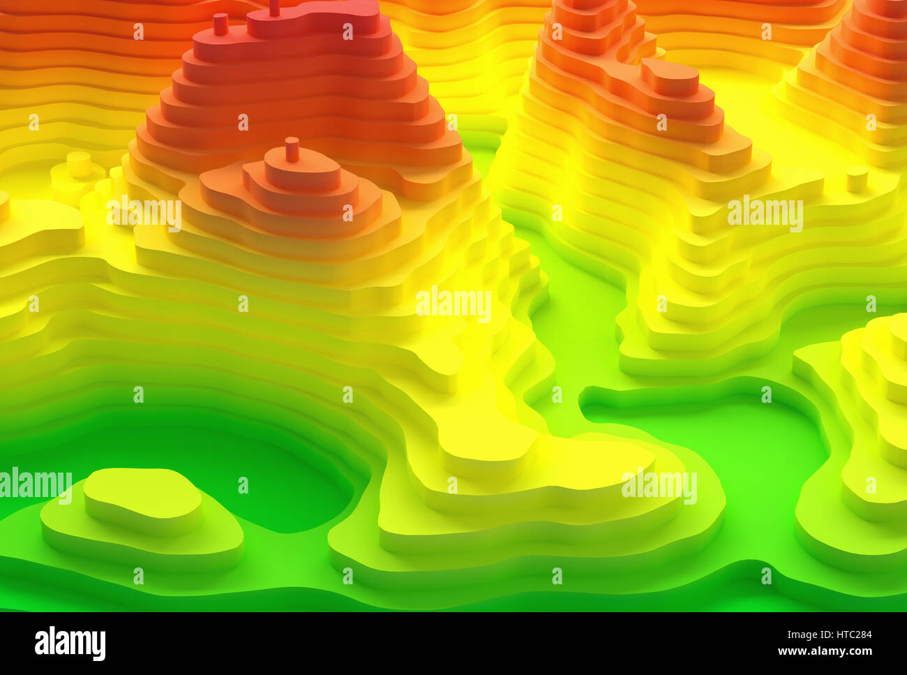 3D illustration. Topographical map of an island. Elevation in colors from blue to red. Stock Photo