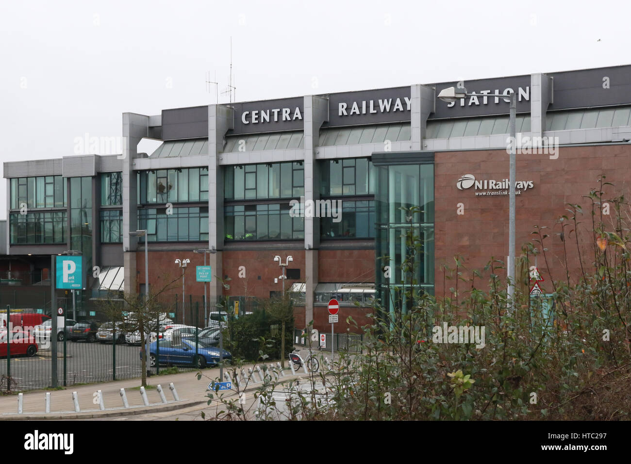 The Central Railway Station in Belfast, Northern Ireland. The station is not actually in the city centre but about - Stock Image