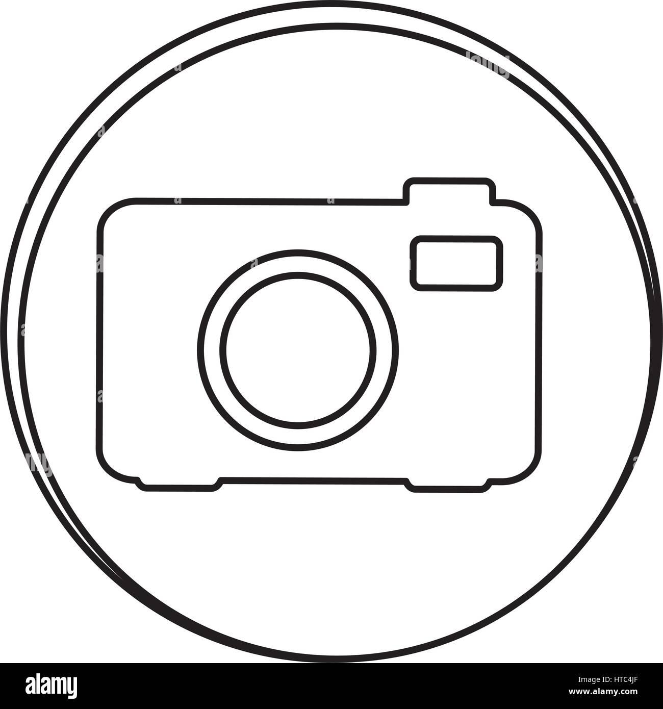 figure camera emblem icon Stock Vector