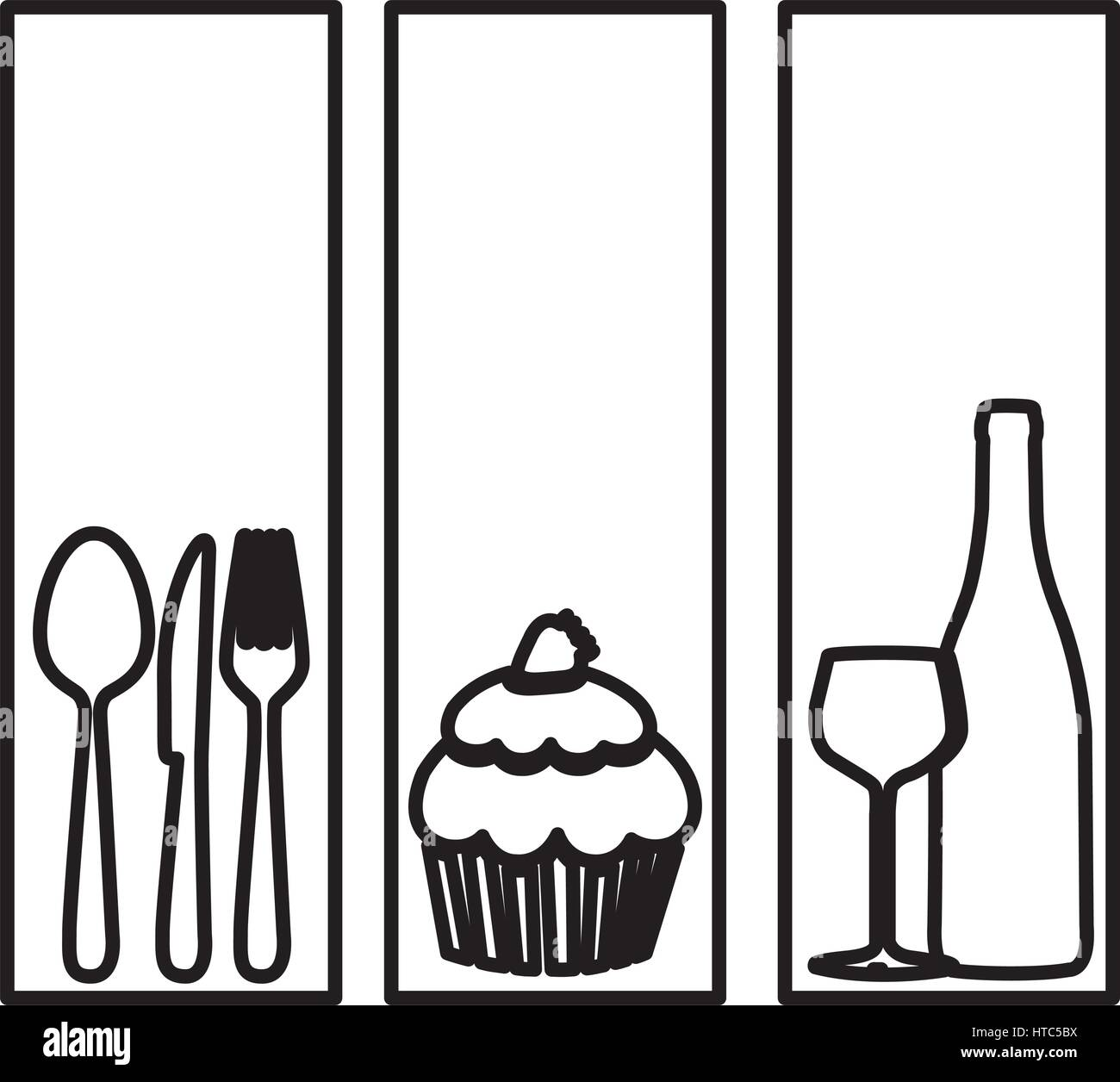 Symbol Cutlery Muffin Wine Bottle And Glass Stock Vector Art